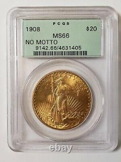 Saint-Gaudens Gold $20 Double Eagle MS66 PCGS OGH old green holder 1908 No Motto