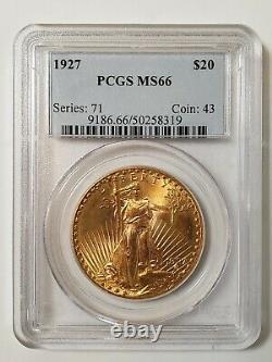 Saint-Gaudens Gold $20 Double Eagle PCGS MS-66 Random Date