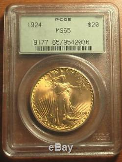 Superb! 1924 Gold $20 Saint Gaudens Double Eagle Coin PCGS MS65 OLD GREEN HOLDER