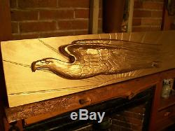 US Eagle Wood Carving In The Style Of Gold Saint Gaudens Double Eagle