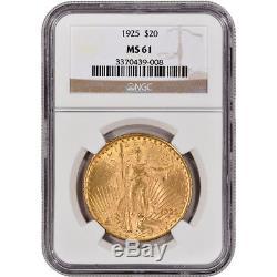 US Gold $20 Saint-Gaudens Double Eagle NGC MS61 Random Date