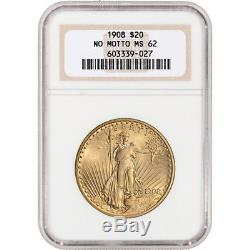 US Gold $20 Saint-Gaudens Double Eagle NGC MS62 1908 No Motto