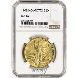 US Gold $20 Saint-Gaudens Double Eagle NGC MS62 1908 No Motto