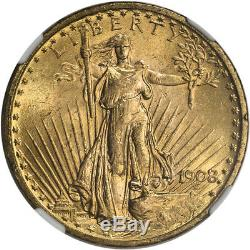 US Gold $20 Saint-Gaudens Double Eagle NGC MS65 1908 No Motto