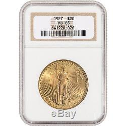 US Gold $20 Saint-Gaudens Double Eagle NGC MS65 Random Date