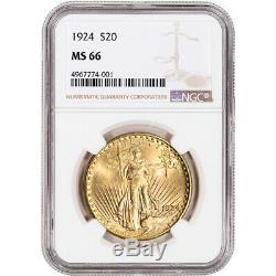 US Gold $20 Saint-Gaudens Double Eagle NGC MS66 Random Date