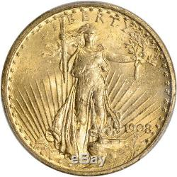 US Gold $20 Saint-Gaudens Double Eagle PCGS MS63 1908 No Motto Rough Rider Hoard
