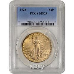 US Gold $20 Saint-Gaudens Double Eagle PCGS MS63 Random Date