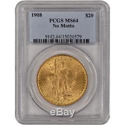 US Gold $20 Saint-Gaudens Double Eagle PCGS MS64 1908 No Motto