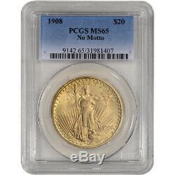 US Gold $20 Saint-Gaudens Double Eagle PCGS MS65 1908 No Motto