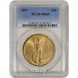 US Gold $20 Saint-Gaudens Double Eagle PCGS MS65 Random Date