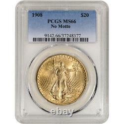 US Gold $20 Saint-Gaudens Double Eagle PCGS MS66 1908 No Motto